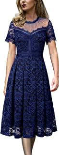 Womens Floral Lace Pleated Cocktail Wedding Party A-Line Midi Dress