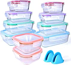 [20 Piece] Glass Food Storage Airtight & Leakproof Containers Set with Snap Lock Lids, Bonus 2 Oven Silicone Gloves, Safe for Dishwasher, Oven, Microwave,Freezer, BPA Free