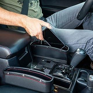 Lukzer 2 PC Car Seat Gap Filler Leather PU Car Console Side Storage Organizer Seat Pockets Catch Caddy/Card Mobile Holder ...