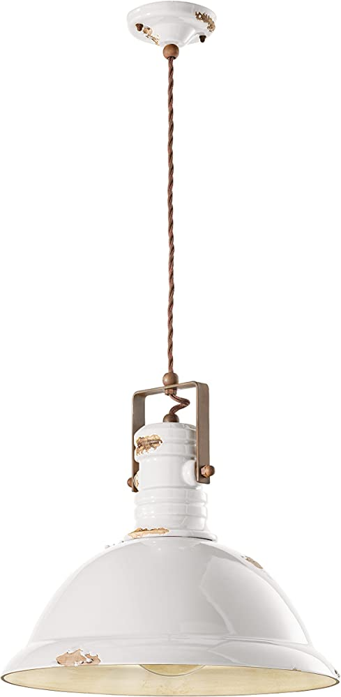 Ferroluce retrò c1690-vib,lampadario a sospensione industrial e27, 77 w, vintage bianco
