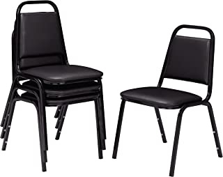 NPS 9110-B-CN Vinyl-upholstered Standard Stack Chair, 300-lb Weight Capacity, 16