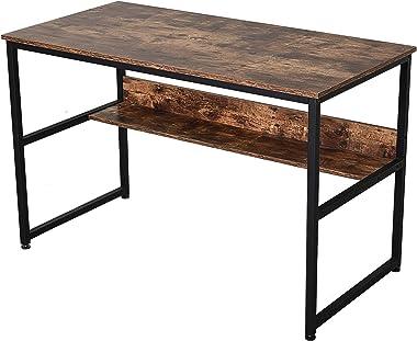 homcom Scrivania Design Industriale in Metallo e Pannelli Truciolari Impermeabili e AntiGraffio con Mensola, 120x60x77cm
