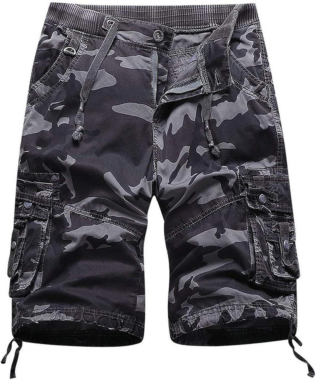Raroauf Men's Cargo Shorts Elastic Waist Drawstring, Relaxed Fit Multi-Pocket Outdoor Twill Cotton Camo Shorts