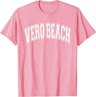 Vero Beach Varsity Style Pink with White Text T-Shirt