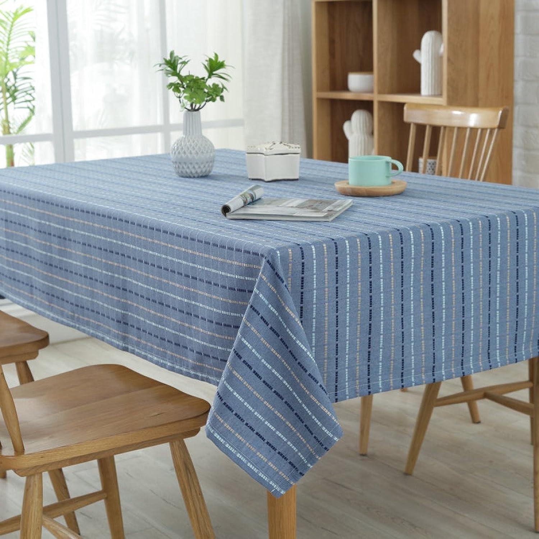 Nappes Polyester-coton Rectangulaire Nappe Table Basse Nappes Couverture De Serviette,bleu-140180CM