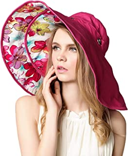 Elonglin Womens Wide Brim Beach Hat Sun Hat Brim Detachable Foldable Beach Cap Anti-Sunlight Anti-UV