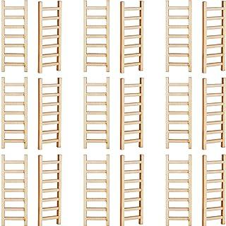 Skylety 20 Pieces Mini Wooden Step Ladder Fairy Furniture Ladder Garden Ornament Ladder DIY Craft Fairy Garden Accessory f...