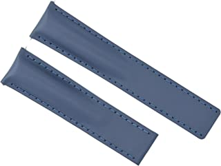 22MM LEATHER STRAP SMOOTH BAND FOR BREITLING NAVITIMER COLT BENTLEY 22/20MM BLUE