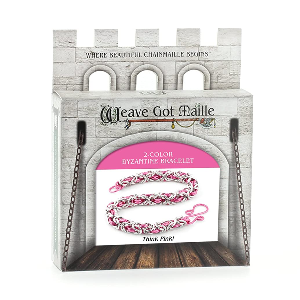 Weave Got Maille 2-Color Byzantine Chain Maille Bracelet Kit, Think Pink!