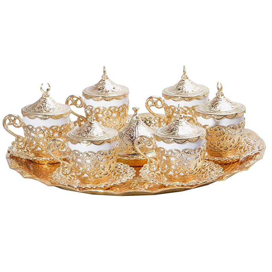 27 PC Traditional Turkish Coffee Espresso Serving Cup Saucer (Gold)