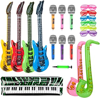 BTSD-home 20Pcs Inflatable Rock Star Toy Set Inflatable Guitar Saxophone Microphone Keyboard Piano Inflatable Music Party Props with Balloon Pump for Party Decoration Prop