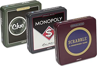 Scrabble, Monopoly, and Clue Board Game Nostalgia Tin Collection