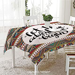 AmaUncle Party Decorations Tablecloth Ethnic Backdrop with Geometric Aztec Motifs and Hand Writing Old Fashioned Style Decorative Table Protectors for Family Dinners (W55 xL72)