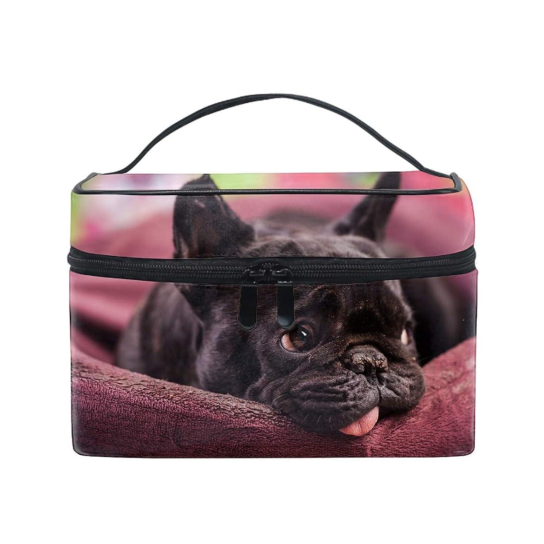 論理的受信機消すトラベルポーチ メイクポーチ 化粧ポーチ 充電器ポーチ 軽いフレンチブルドッグおかしい犬ブルドッグ