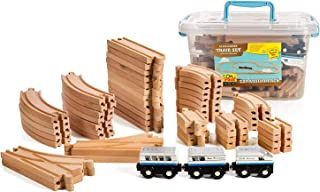 On Track USA 55 Piece Wooden Expansion Pack Train Set with Train Cars, Comes in A Clear Container, Compatible with All Major Brands