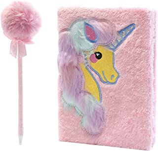 GalOr Faux Fur Notebook for Kids Plush Notebook in Unicorn Designs -Kids Diary Journal -80 Pages of Middle Lined Paper Bundled Inclusive of Fur Pen and Gift Box - Gift for Girls
