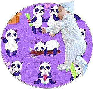 Panda med bambu i kärlek, barn rund matta polyester överkast matta mjuk pedagogisk tvättbar matta barnkammare tipi tält le...