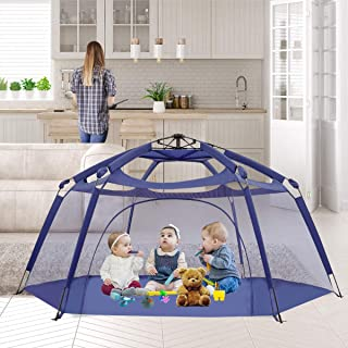 "Alvantor Playpen Play Yard Space Canopy Fence Pin 6 Panel Pop Up Foldable and Portable Lightweight Safe Indoor Outdoor Infants Babies Toddlers Kids Pets 7'x7'44"" Navy Patent"