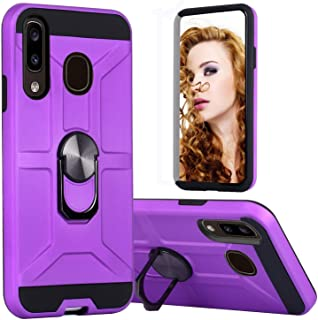Samsung Galaxy A01 Phone Case,Dual Layers of Shockproofwith Rotatable Ring Kickstand Fit Magnetic Car Mount (deep Purple)