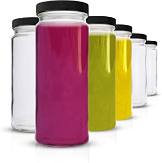 Glass Water Bottles Set - 6 Pack Wide Mouth with Lids for Juice, Smoothies, Beverage Storage - 16 oz, Durable, Eco Friendl...
