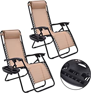 MTN Gearsmith New 2PC Zero Gravity Chairs Lounge Patio Folding Recliner Beige W/Cup Holder