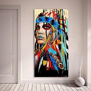 Karen Max Portrait sur Toile Art Mural de Photos pour Salon Indian Woman Pride à Plumes Tableau Home Decor Imprimé 60x120 ...