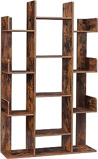 VASAGLE Bibliothèque arbre, Étagère à 13 compartiments, Meuble de rangement, 86 x 25 x 140 cm, avec coins arrondis et rebo...