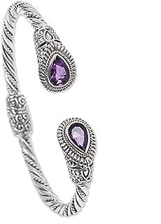 NOVICA Amethyst .925 Sterling Silver Hinged Twist Cuff Bracelet 'Bright Eyes'