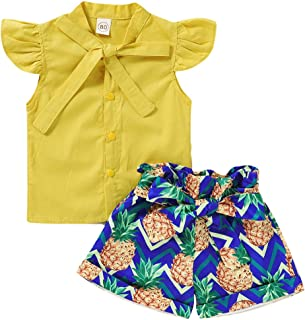 Toddler Baby Girls Summer Clothes Set Vest Tank T-Shirt Tops Pineapple Pattern Short Pants Skirt Sister Matching Outfits