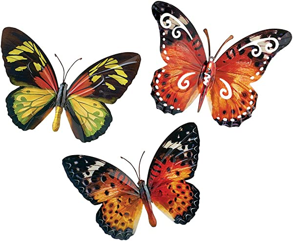 Collections Etc Butterfly Wall Art 3D Metal D Cor Set 3pc Set