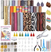 Caydo 36 Pieces 9 Kinds of Leather Fabric, Leather Earring Making Kits with Instructions, Cut Molds, Earring Hooks, Jump Rings, Pliers, Hole Puncher for Earrings Making Crafts