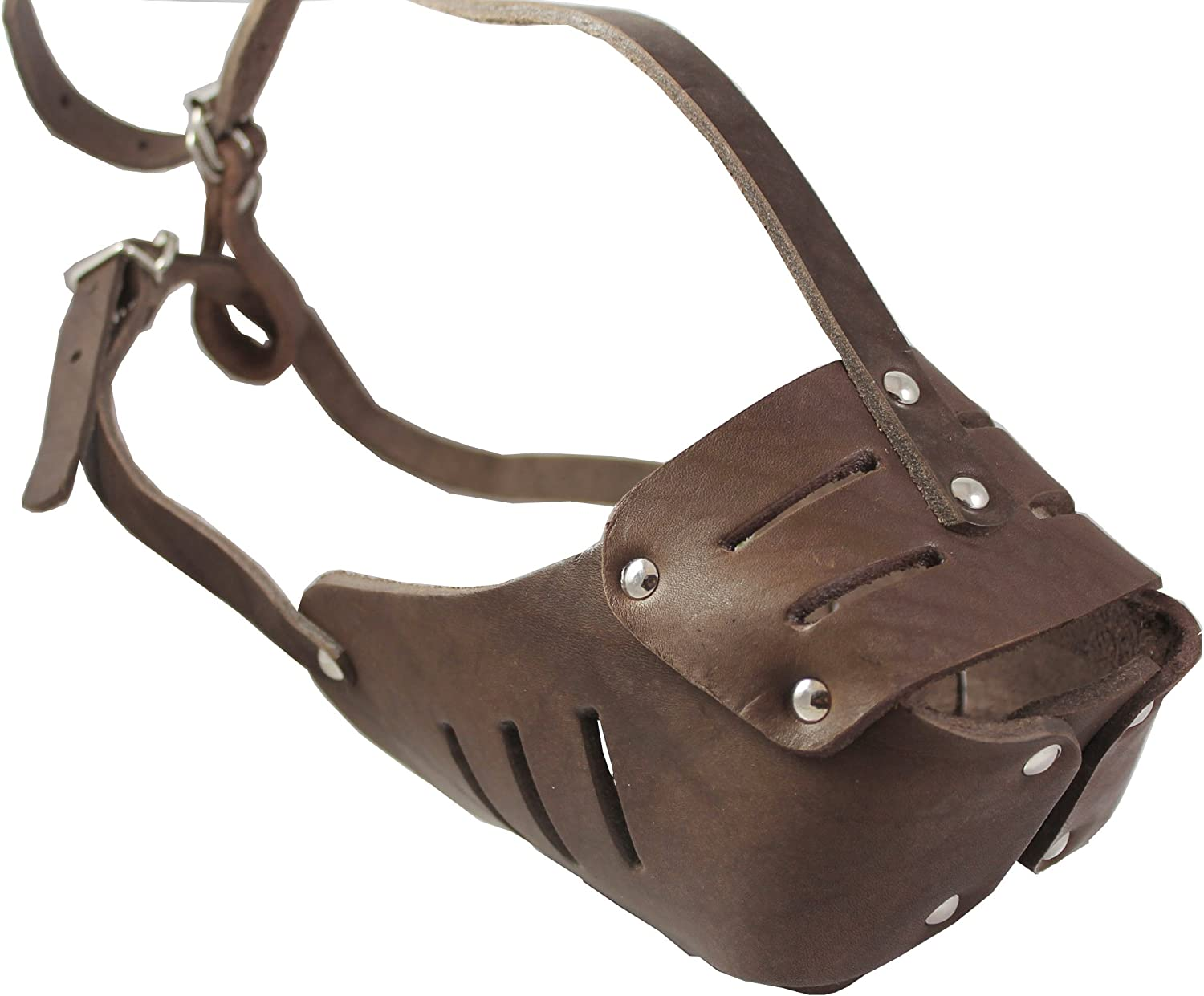 Real Leather Cage Basket Secure Dog Muzzle  130 Brown  redtweiler, Boxer (Circumference 13.5 , Snout Length 3.5 )