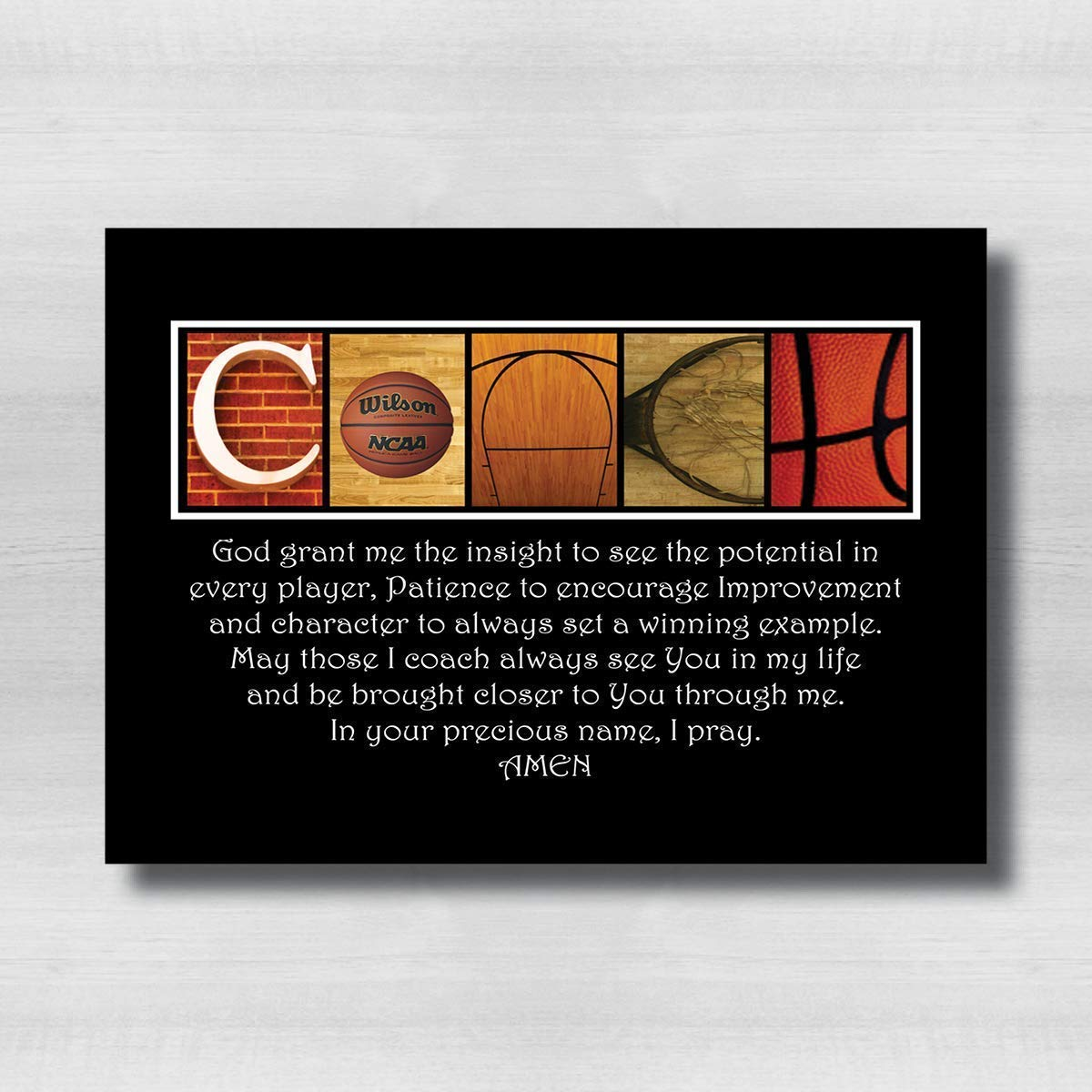 Basketball Deluxe Coaches Prayer Gift 8x10 Inexpensive Coach for