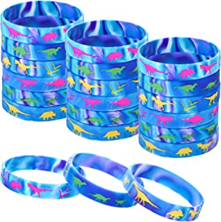 36 Pieces Dinosaur Silicone Wristbands Multicolor Dinosaur Bracelets Jurassic Style Silicone Bracelets for Dinosaur Party Supplies