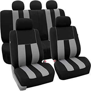 FH Group FH-FB036115 Striking Striped Seat Covers Airbag & Split Ready, Gray/Black Color- Fit Most Car, Truck, SUV, or Van