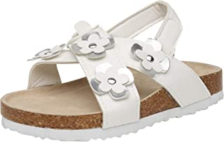 dELiAs Toddler Girls Open Toe Footbed Cork Sandal with Metallic Flowers