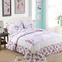 3-Piece Cotton Quilted Bedspread Throw Double Pastoral Floral Pattern Patchwork Quilt Blankets Coverlets for Sofa Comfort ...