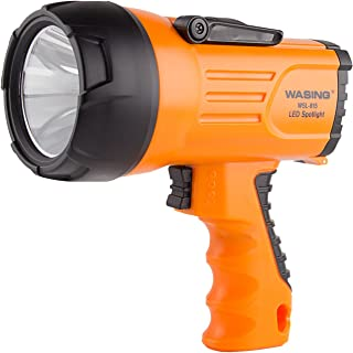WASING 815 10 Watt 1000 Lumens LED Rechargeable Spotlight with Cord, Super Bright Portable Outdoor Searchlight with Handle, Emergency Work Light, Hand Held High Power LED Flashlight
