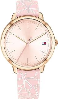 ساعة تومي هيلفجر للنساء من السيليكون بمينا ذو لون زهري داكن - 1782251