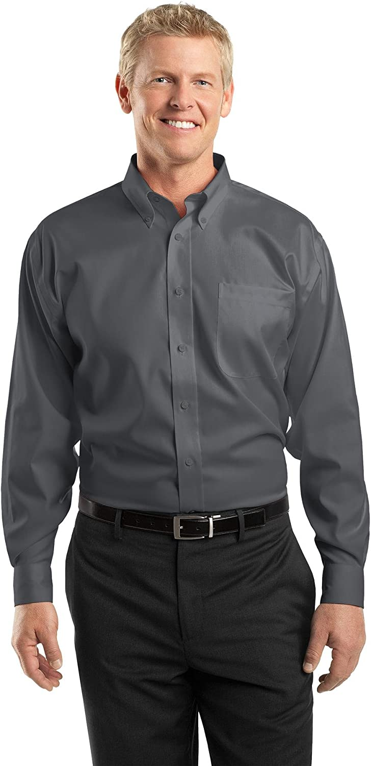 Red House Mens Tall Non-Iron Pinpoint Oxford, XLT, Charcoal