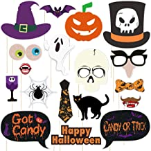 Amosfun 18PCS Halloween Photo Booth Props for Halloween Party Photography Decoration Creative Spooky and Witch Halloween Party Favors