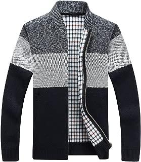 chouyatou Men's Classic Band Collar Full Zip Color-Block Stripe Cable Knitted Cardigan Sweater Coat