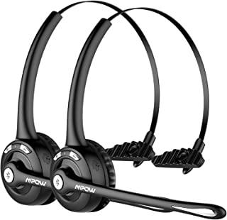 Mpow Pro (2-Pack) Truck Driver Bluetooth Headset/Office Headset, Wireless Over The Head Earpiece w/Mic, On-Ear Headset for...