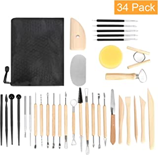Blisstime 34PCS Clay Tools,Pottery Sculpting Tool and Supplies,Wooden Handle Pottery Carving Tool Set