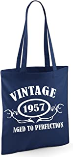 Bolsa de tela Edward Sinclair, con texto: «Vintage 1957Aged To Perfection»