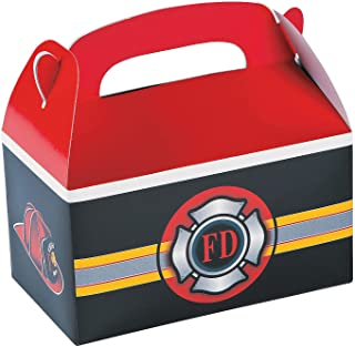 Fun Express - Fire Heroes Treat Boxes for Birthday - Party Supplies - Containers & Boxes - Paper Boxes - Birthday - 12 Pieces
