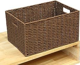 YAYADU Storage Basket Grass Fiber Rectangular Finishing Box Tow Buckle Clothes Baskets Home School Multipurpose, 2, Colors...