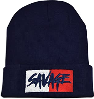 JLGUSA Two Square Savage Embroidery Unisex Knit Winter Warm Skull Hat Fold-Up Beanie Cap