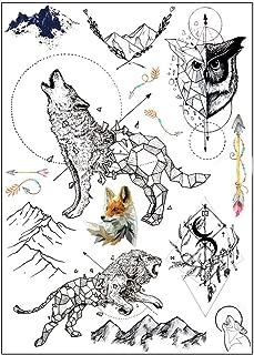 BESTPICKS Large Waterproof Fashion Temporary Tattoo Sticker - WOLF, LION, MOUNTAIN, ARROW, KITES - 14.5 X 21 cm Sheet