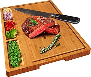 HHXRISE Large Organic Bamboo Cutting Board For Kitchen With Tray, With 3 Built-In Compartments And Juice Grooves, Heavy Du...